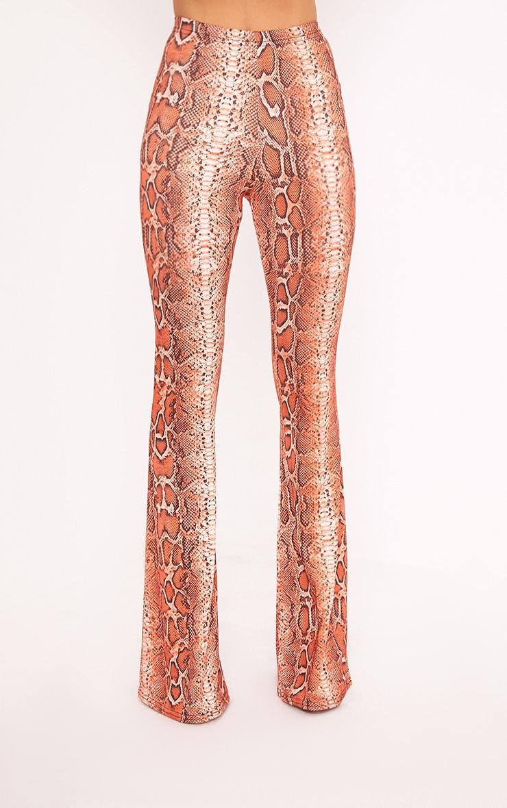 Pantalon évasé près du corps imprimé serpent mandarine  3