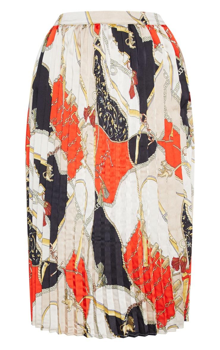Cream Chain Print Pleated Midi Skirt  3