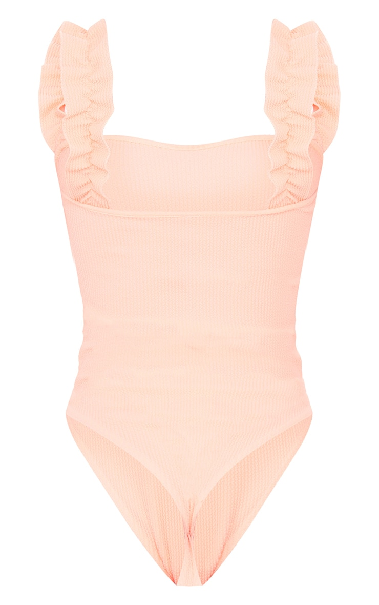 Tall Coral Crinkle Frill Shoulder Swimsuit 5