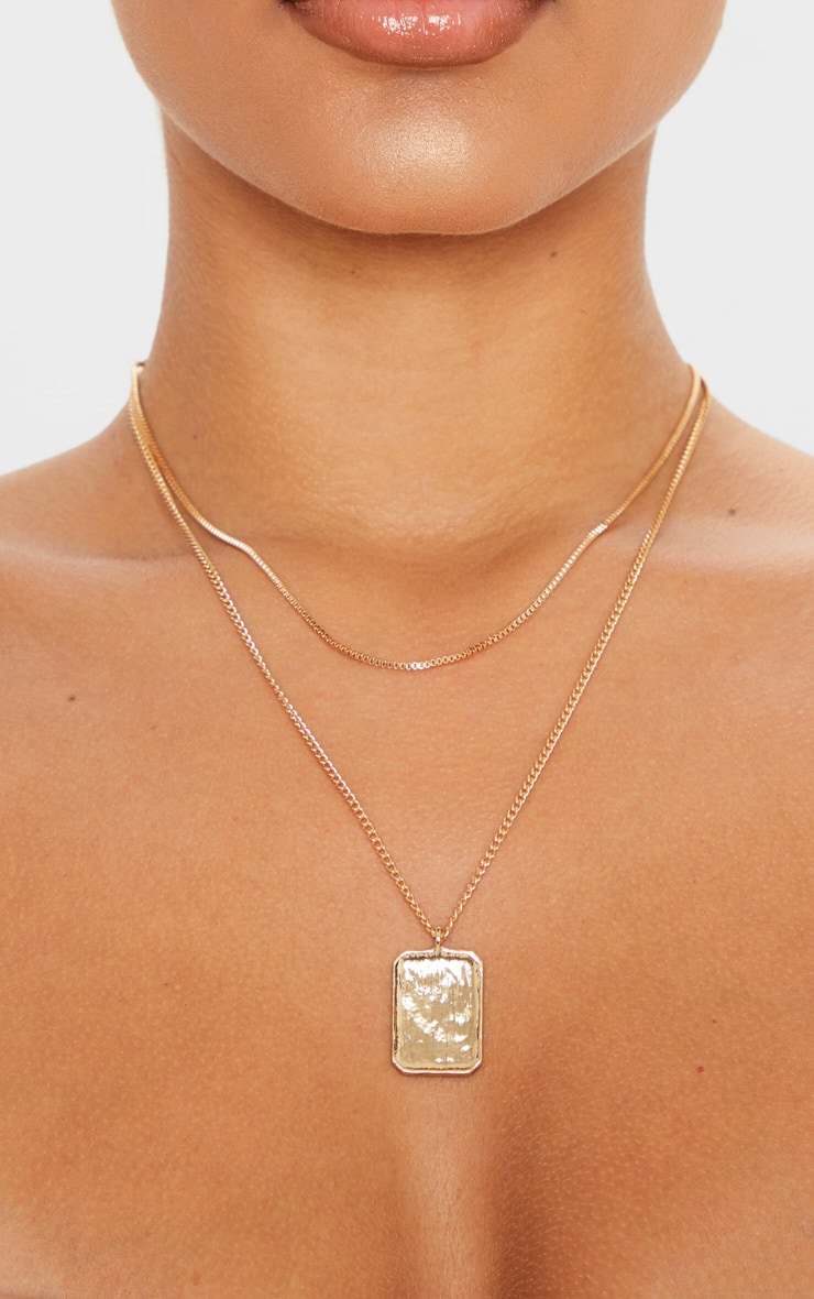 Gold Double Layer Dog Tag Necklace                     2
