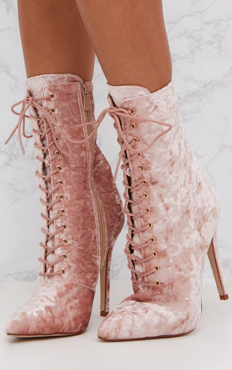 Pink Crushed Velvet Lace Up Heeled Boots 2