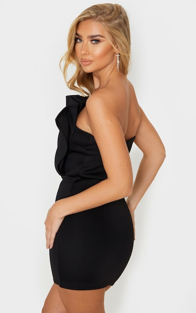 Black Scuba Bandeau Pleated Detail Bodycon Dress
