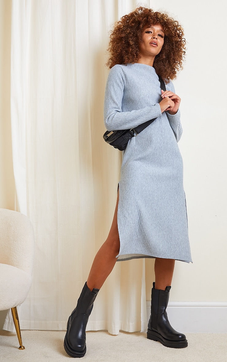 Grey Marl Thick Rib High Neck Long Sleeve Midi Dress 1