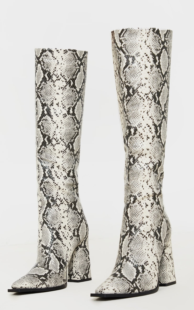 Grey Snake Square Toe Block Heel Calf Boot 3