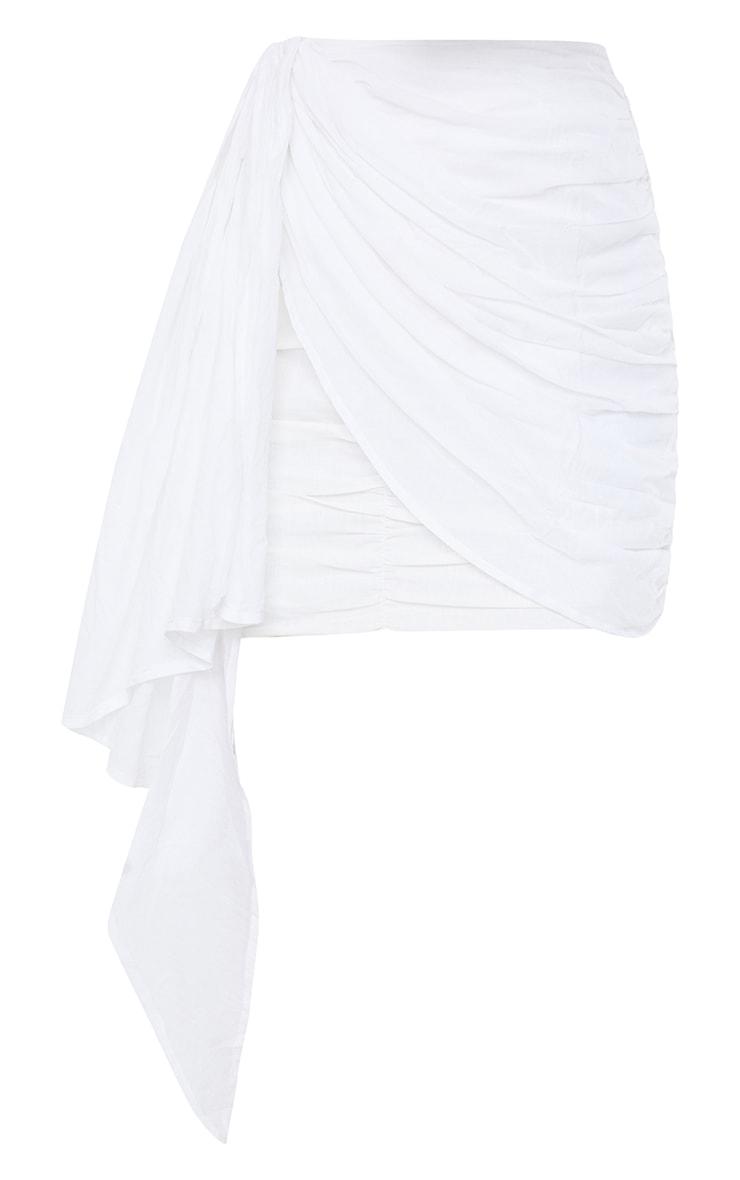 White Ruched Drape Front Linen Look Mini Skirt 6
