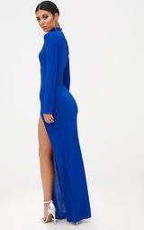 2897df75fe Longue robe bleu roi pailletée fendue à col haut. Robes ...