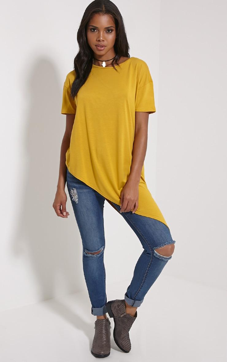 Amore Mustard Asymmetric Hem T-Shirt 3