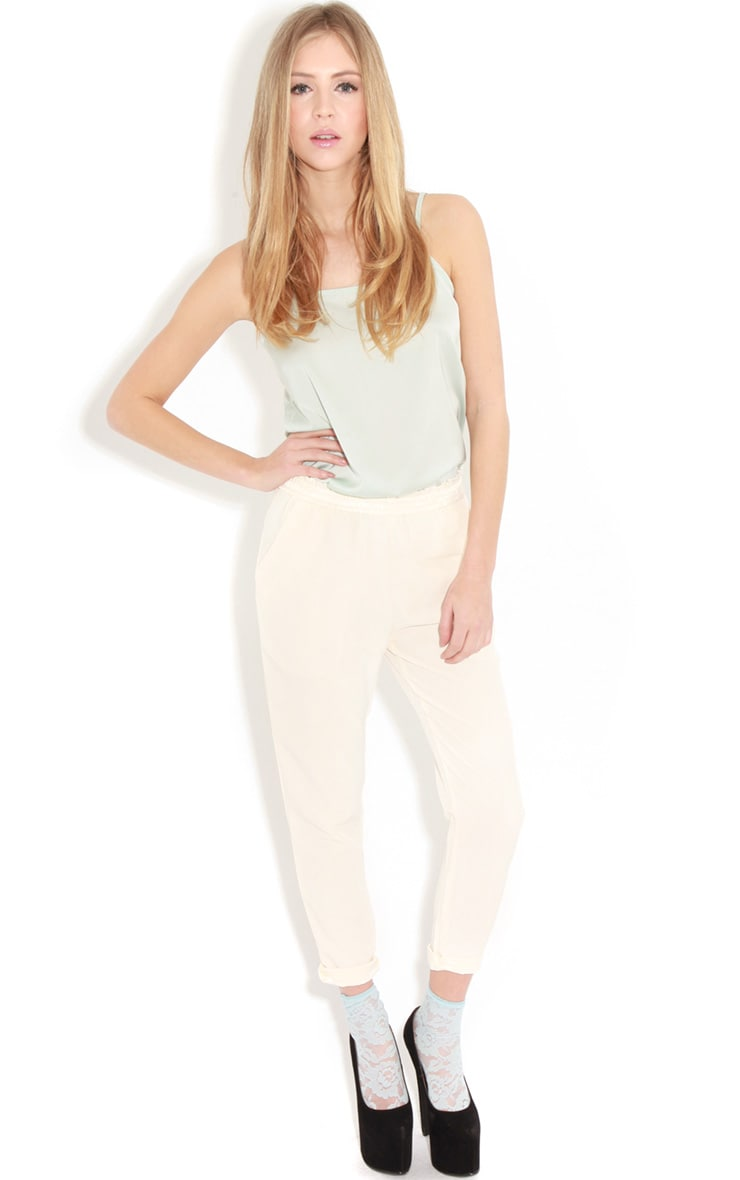 Gracy Cream Chiffon Trousers 1