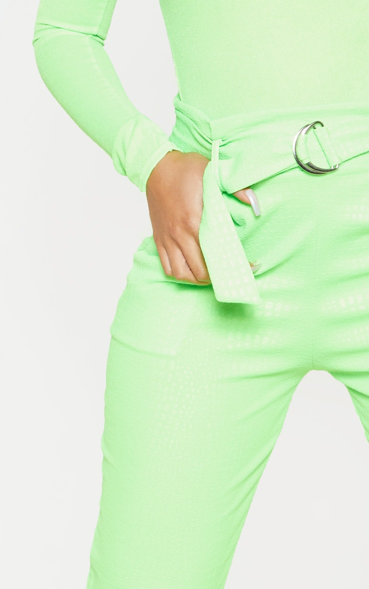 Neon Lime Croc Print D Ring Belted Skinny Trousers 5