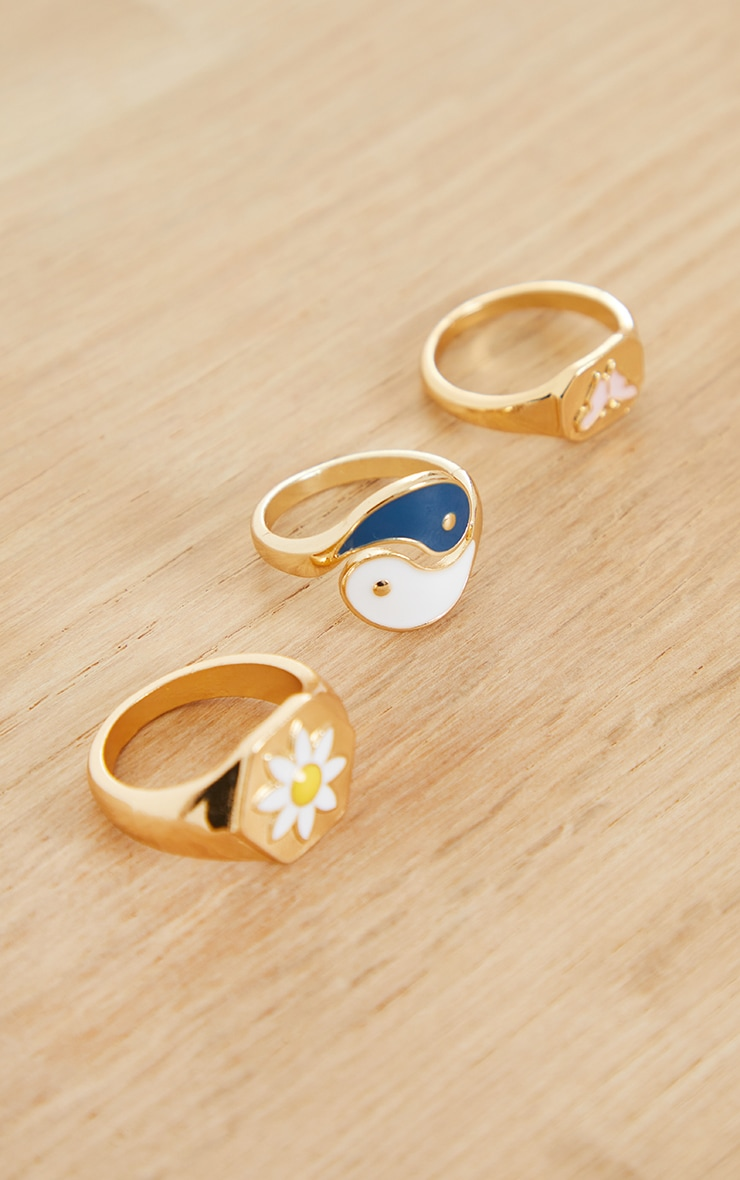 Gold Ying Yang And Flower Assorted Rings 2