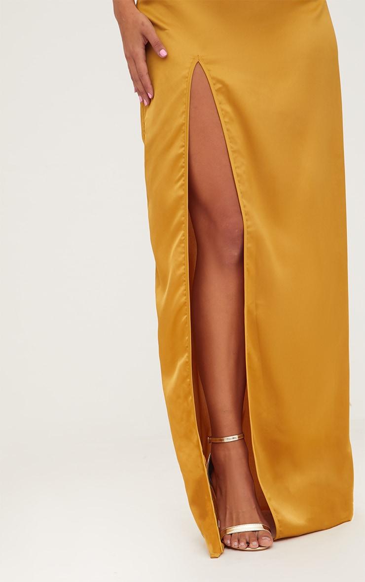 Mustard Satin Strappy Side Split Maxi Dress 5
