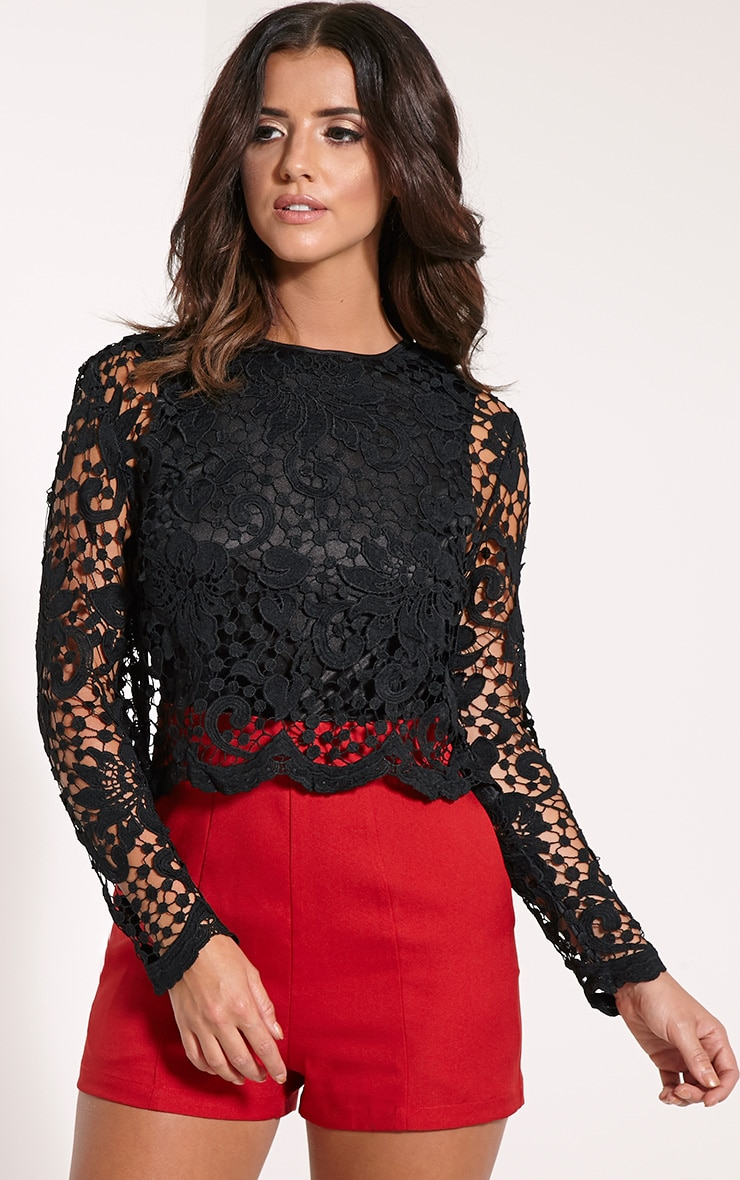 Lila Black Crochet Lace Playsuit 3