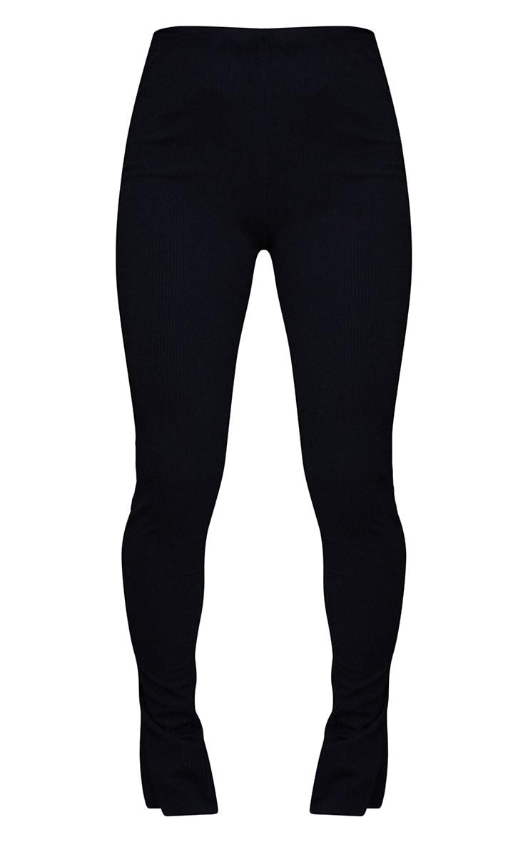 Black Textured Ribbed Split Hem Leggings 5