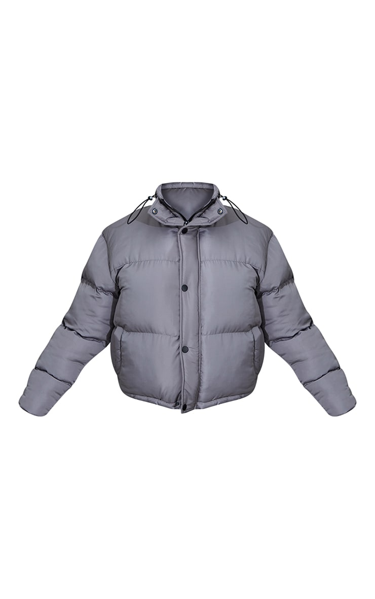 Charcoal Grey Toggle Detail Puffer Jacket 5