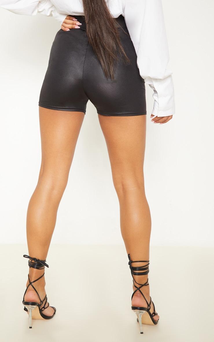 Black Coated High Waisted Short 4