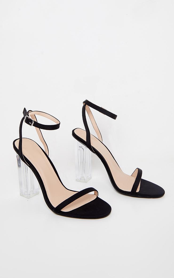 Black Lycra Clear Block Heel Sandal 3