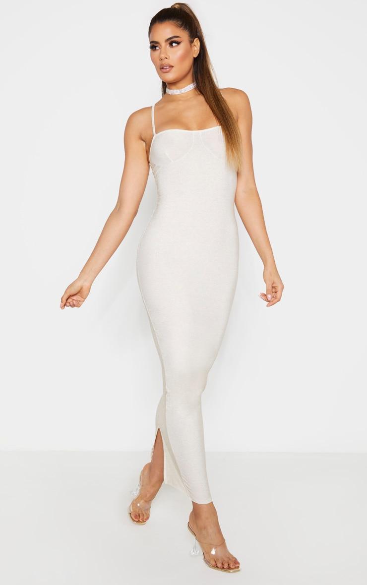 Tall Gold Strappy Bodycon Maxi Dress 4