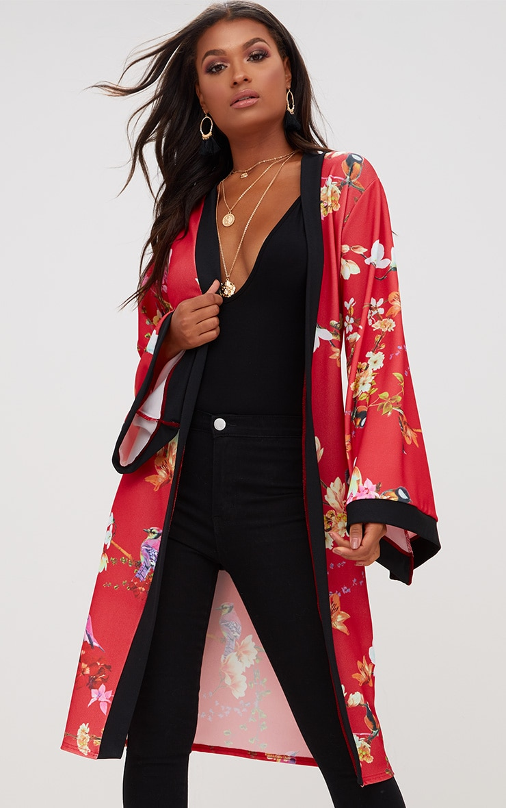 Red Oriental Belted Kimono Jacket 1