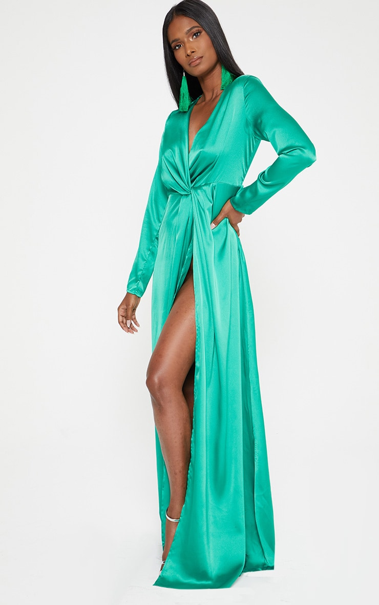 Green Satin Twist Front Maxi Dress 3