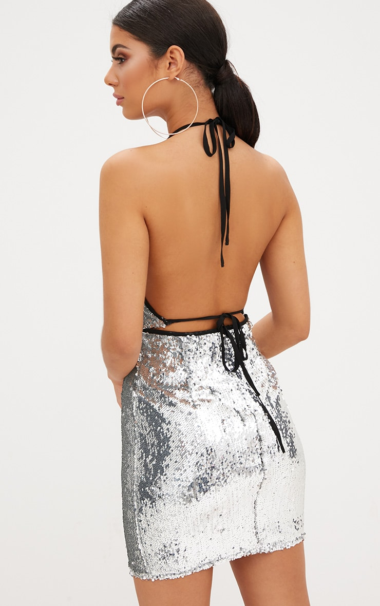 Silver Sequin Ring Detail Bodycon Dress 2
