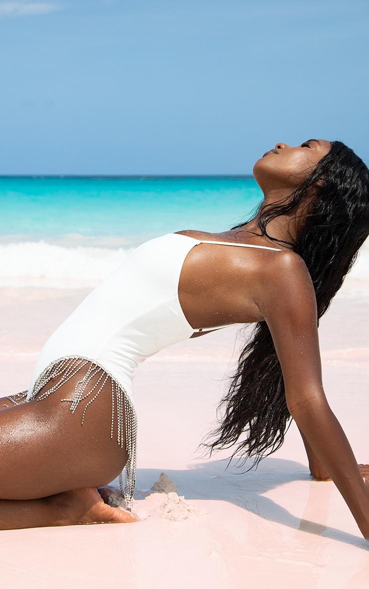 White Diamante Trim Swimsuit 4