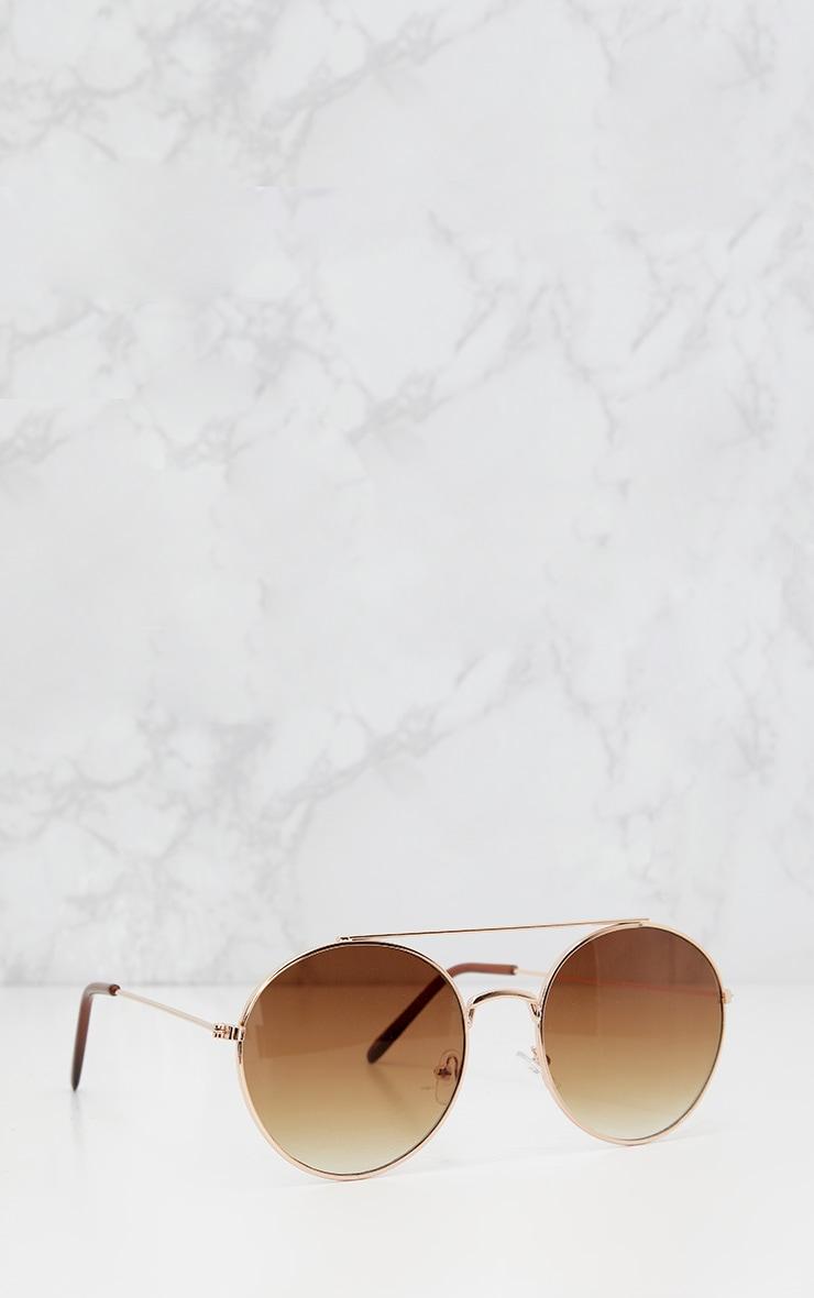 Gold Round Rose Gradient Lens Sunglasses 3