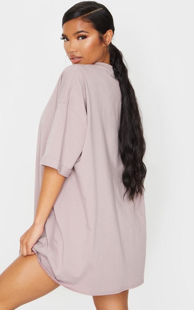 Mauve Oversized Boyfriend T Shirt Dress 2