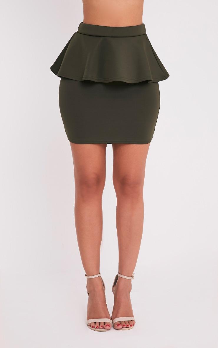 Mariela Khaki Peplum Scuba Mini Skirt 2