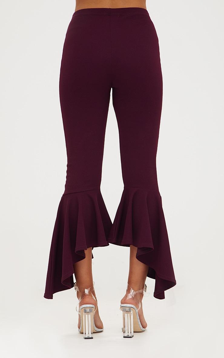 Plum Asymmetric Flare Hem Trousers 4