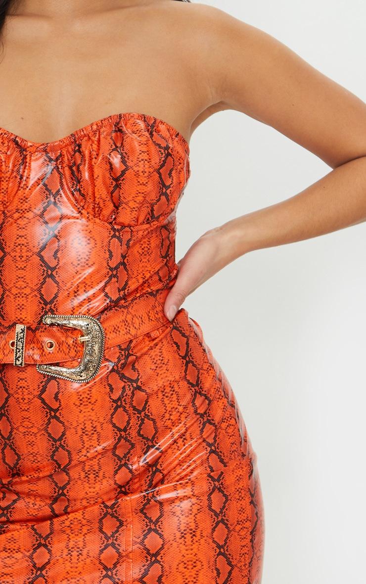 Petite Orange Snake Print Belted Bandeau Bodycon Dress 4