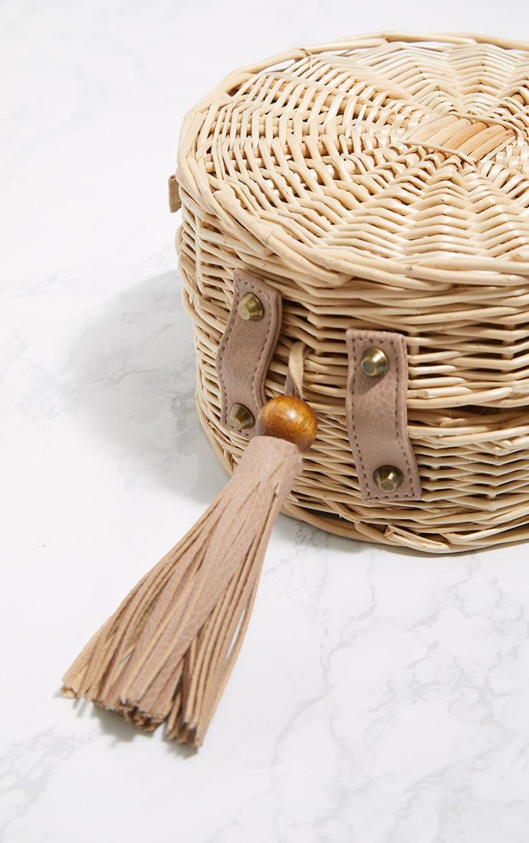 Brown Round Basket Tassel Cross Body Bag 4