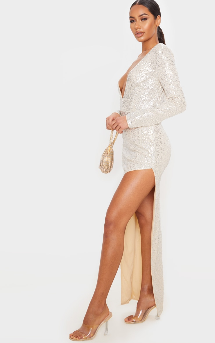 Silver Sequin Long Sleeve Plunge Maxi Dress 1