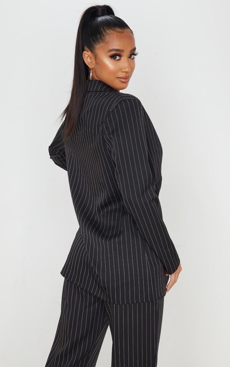 Petite Black Oversized Pinstripe Blazer 2