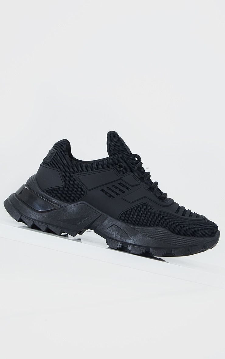 Black Sports Panel Upper Cleated Chunky Trainers 4