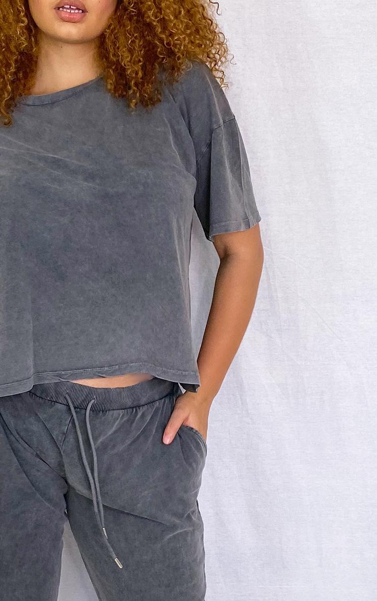 Plus Black Acid Wash Oversized T Shirt 4