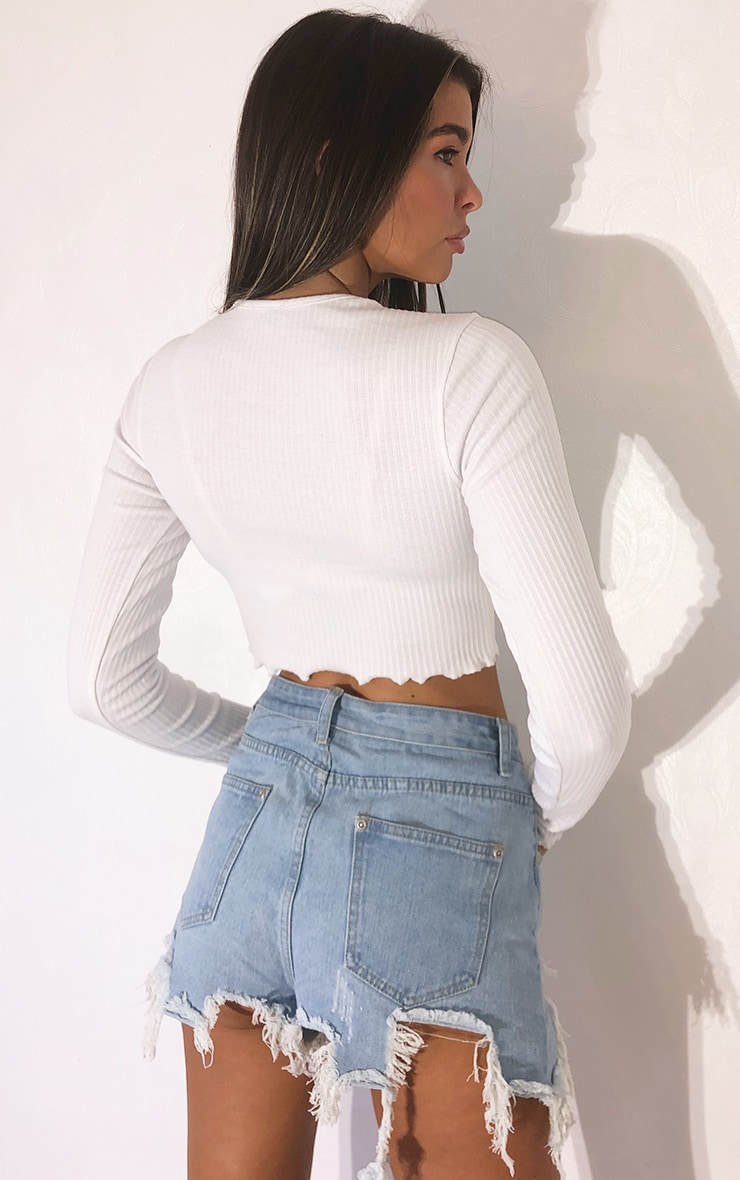 White Thick Rib Tie Front Long Sleeve Crop Top 2