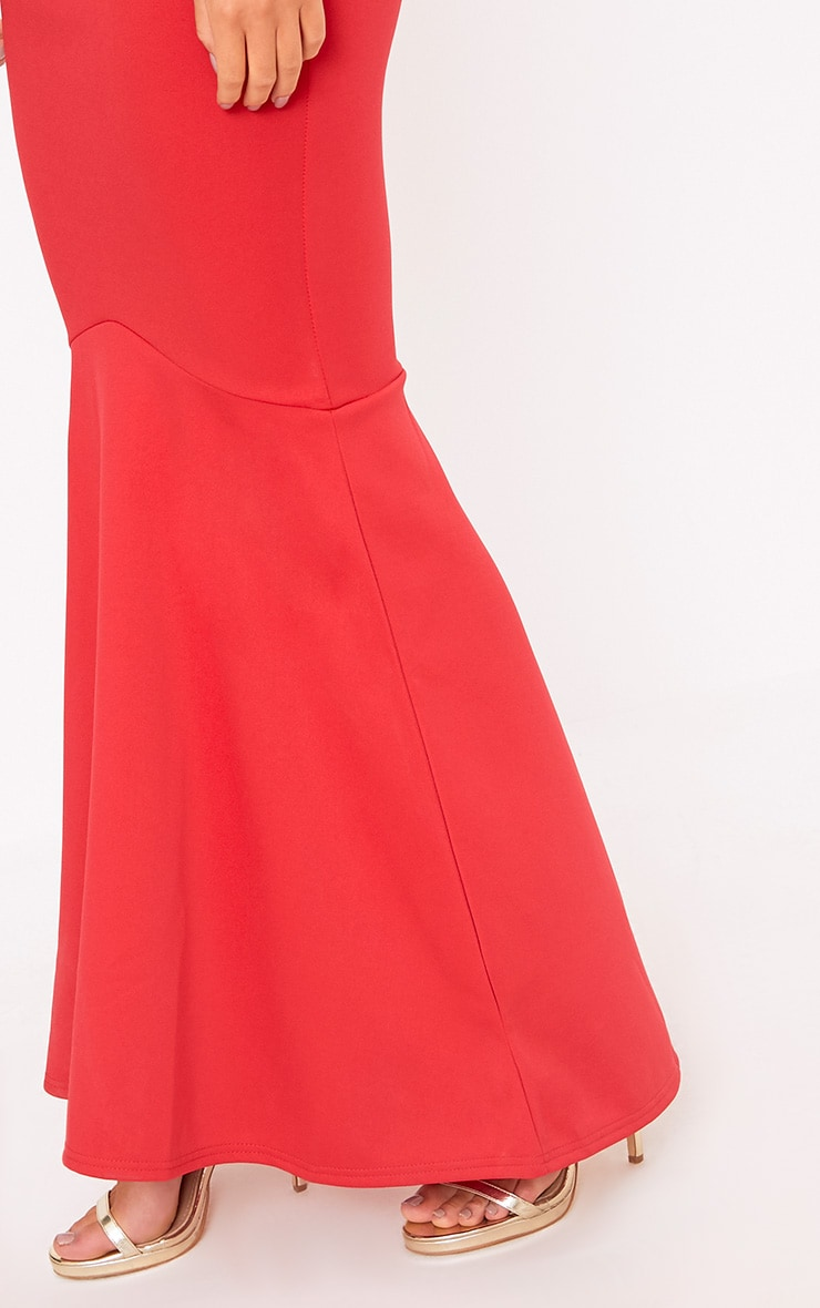 Red Plunge Fishtail Maxi Dress 5