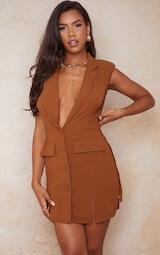 Chocolate Sleeveless Shoulder Pad Waist Tie Blazer Dress 3