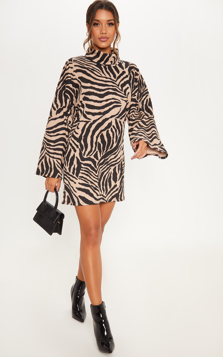 Camel Tiger Wide Rib High Neck Oversized Jumper Dress