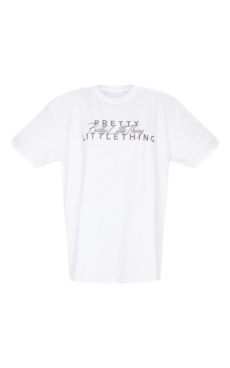 PRETTYLITTLETHING White Slogan Short Sleeve T Shirt Dress 5