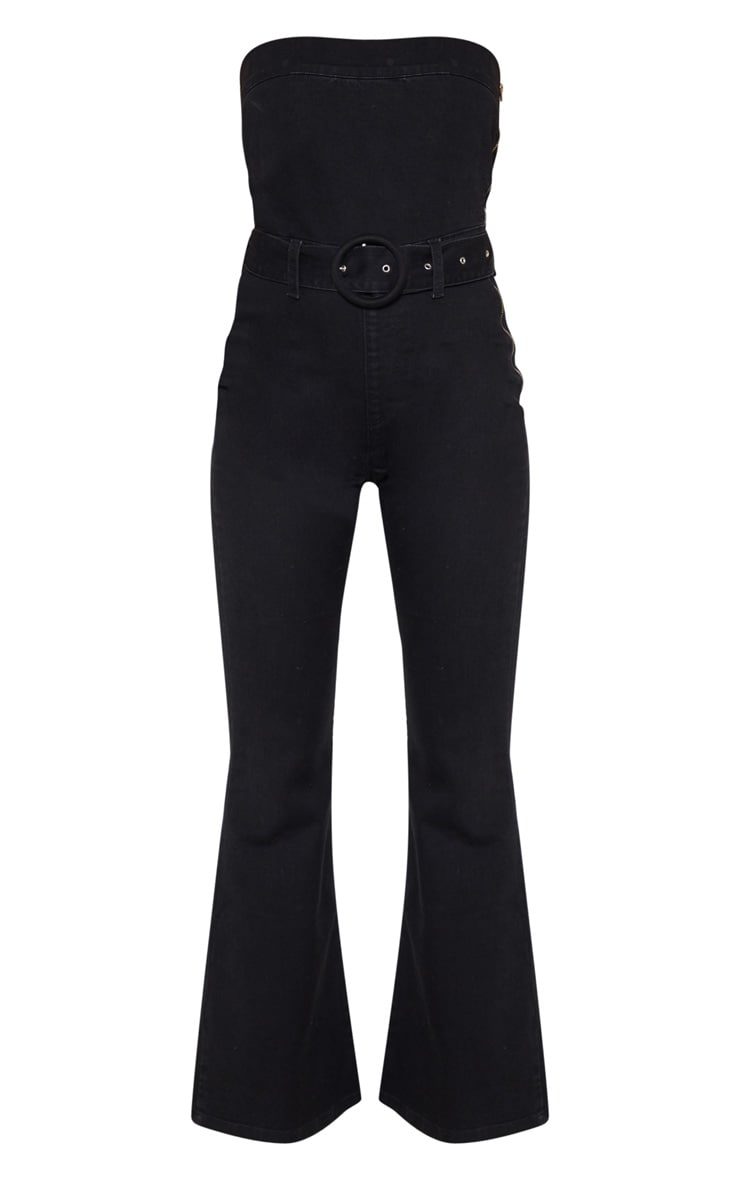 Black Belted Flared Bodycon Jumpsuit 3