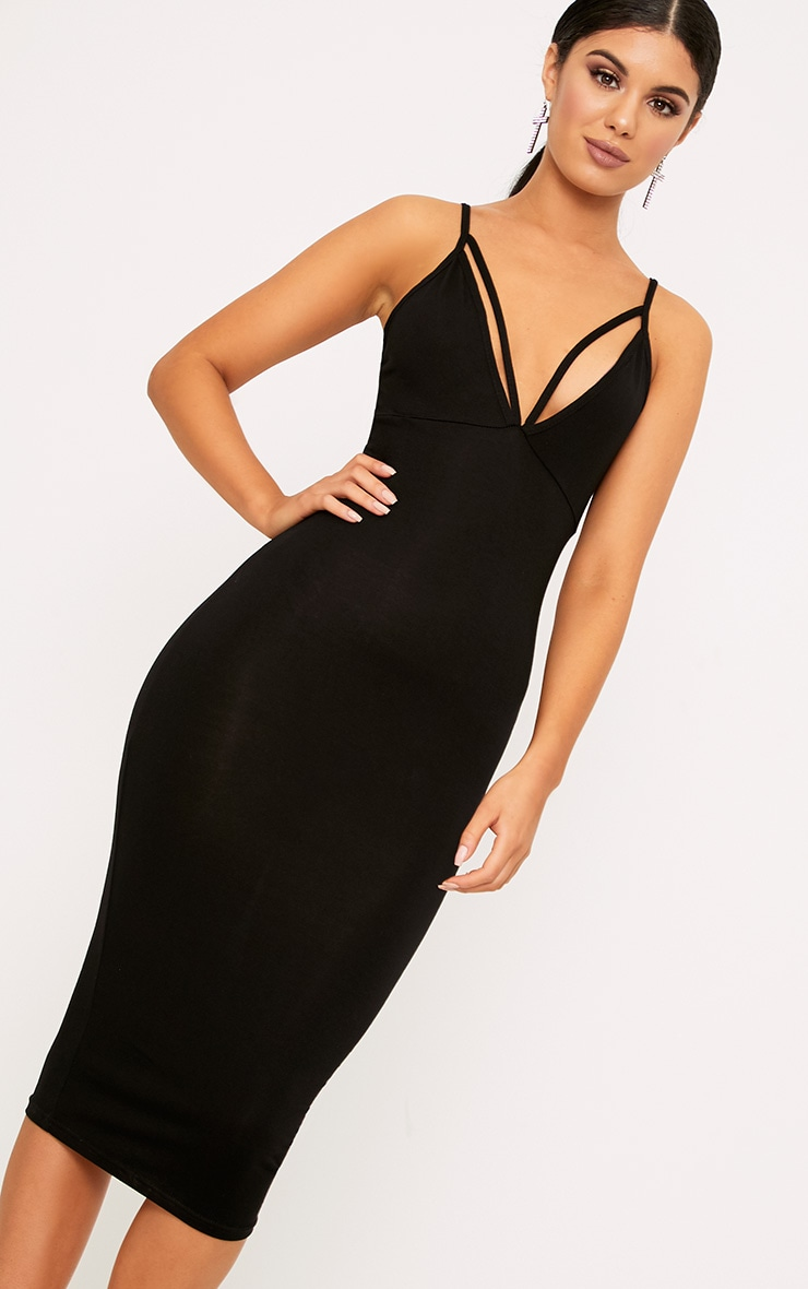 Black Strap Detail Midi Dress 1