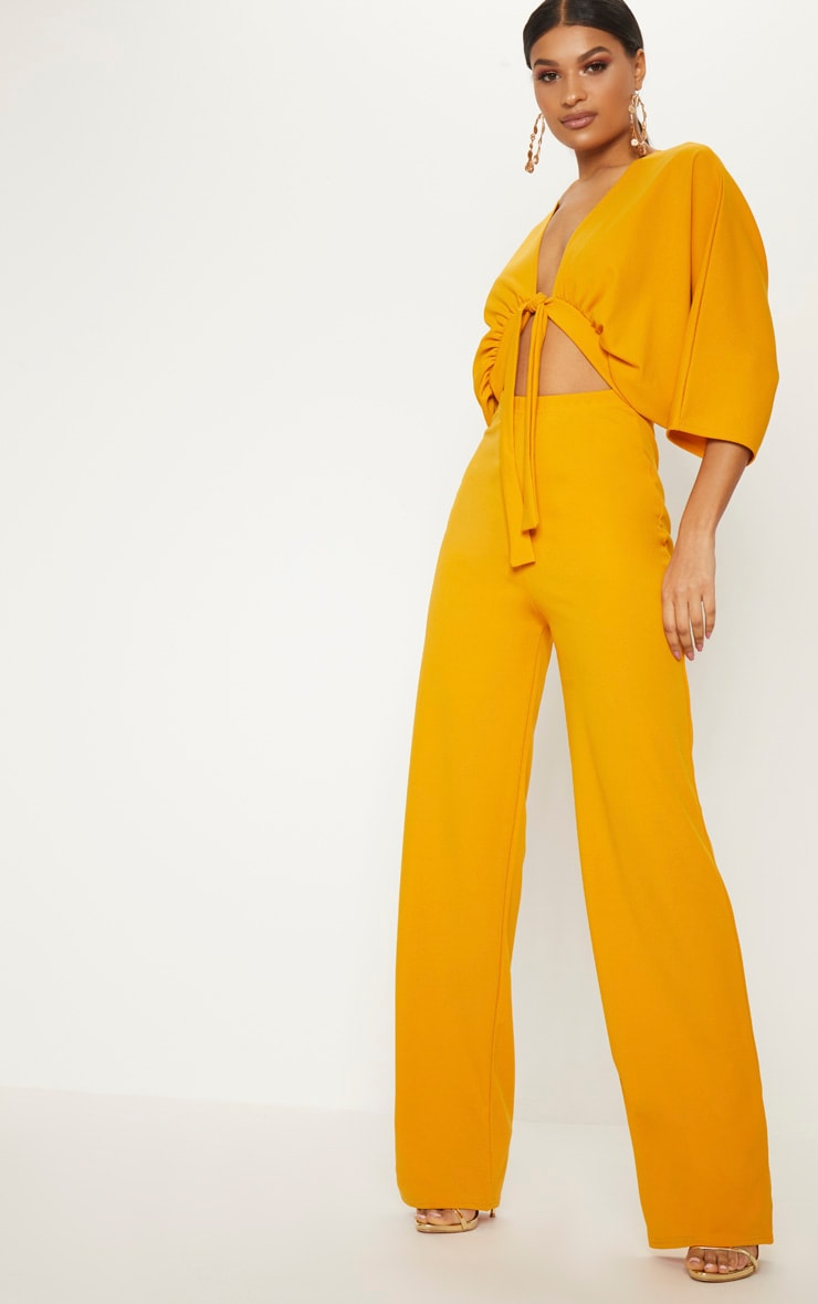 Mustard Crepe Batwing Cut Out Jumpsuit 1