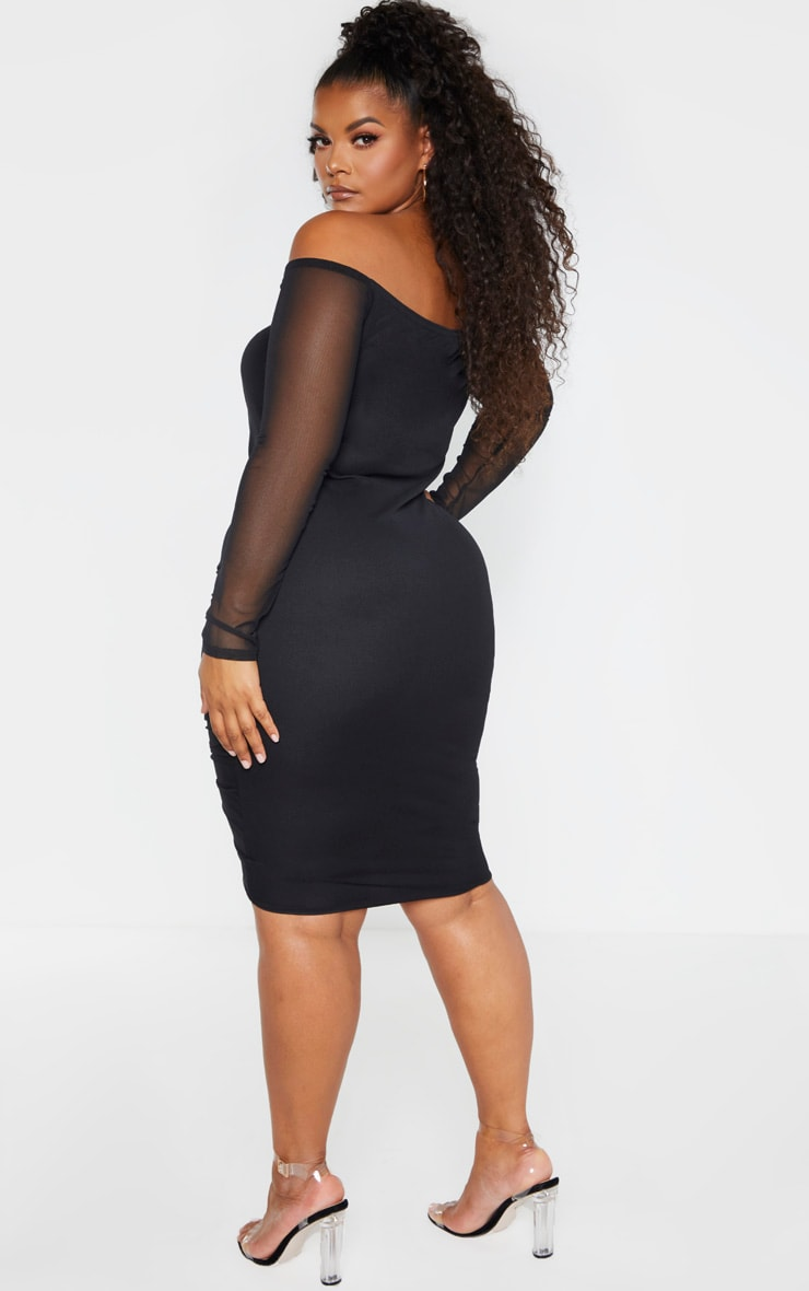 Plus Black Mesh Ruched Bardot Midi Dress 2