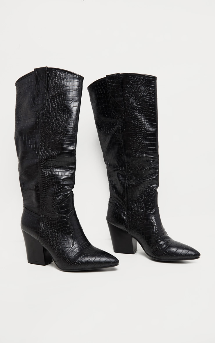 Black Knee High Heeled Western Boot 3