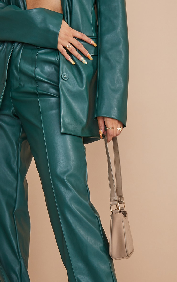 Bottle Green Faux Leather Pintuck Detail Straight Leg Trousers 4