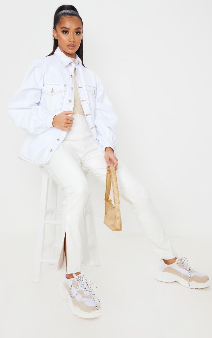 Petite - Chemise en jean oversize blanc à manches bouffantes 4