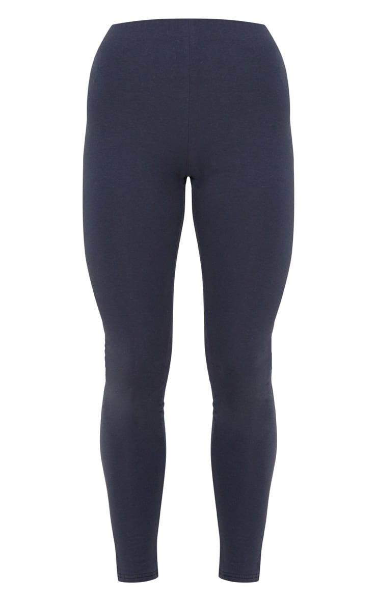 Charcoal Blue High Waisted Cotton Stretch Leggings  3