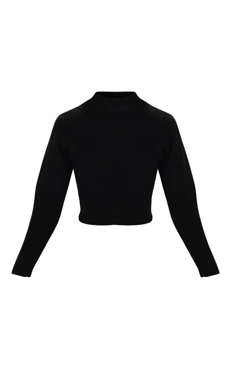 Black Ribbed Cropped Knitted Jumper 3