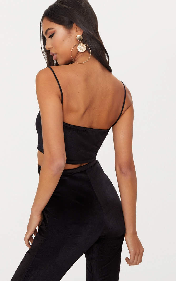 Black Velvet Strappy Crop Top 2